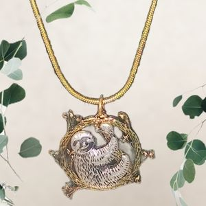 """Gold and Silver Sloth Charm on a 20"""" Gold Necklace"""